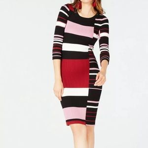 Bar III | Striped Sweater Dress Berry Color Combo